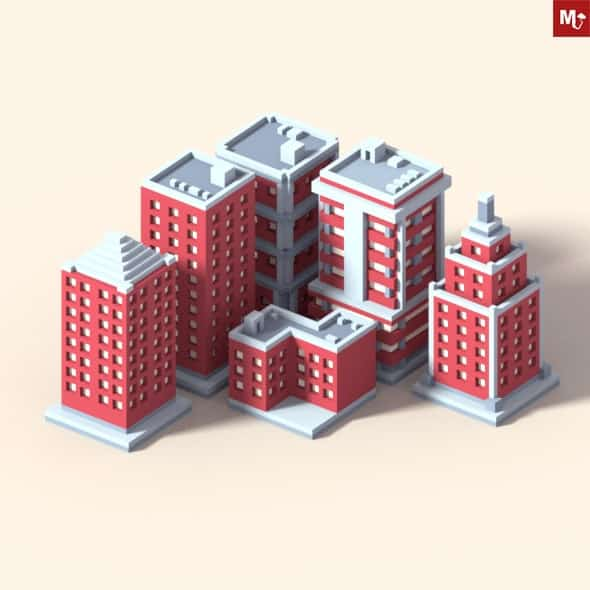 Low Poly Isometric Buildings Pack free
