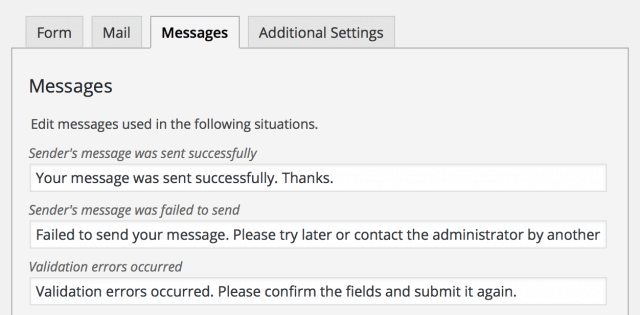 contact form Messages