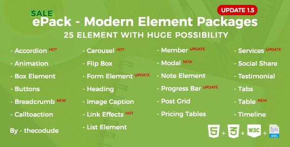ePack - 25 CSS3 Ultimate Element Packages